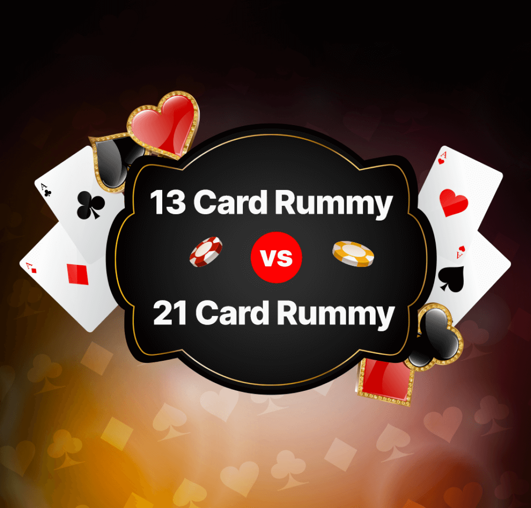 13 Card vs 21 Card Rummy Banner