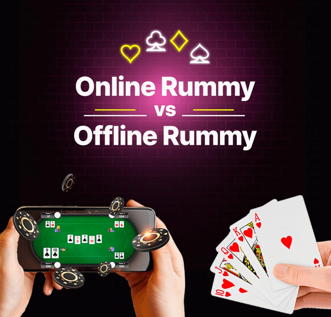 Online vs Offline Rummy Banner